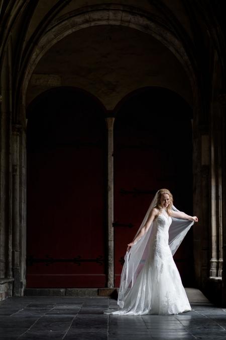 Bruid met sluier in Domtuin