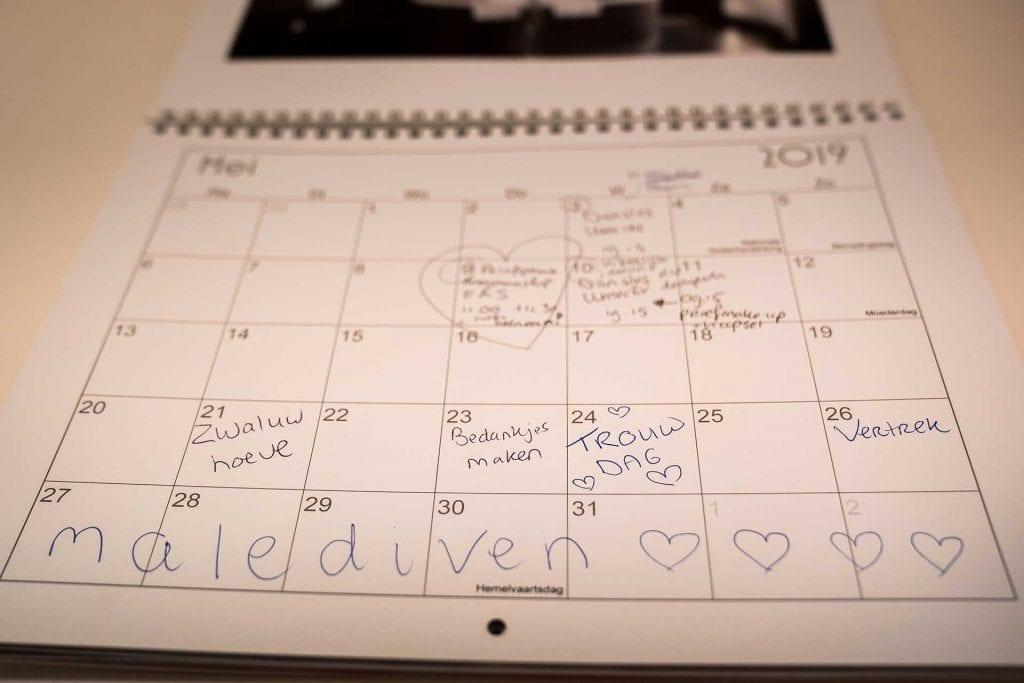 Kalender met trouwdatum