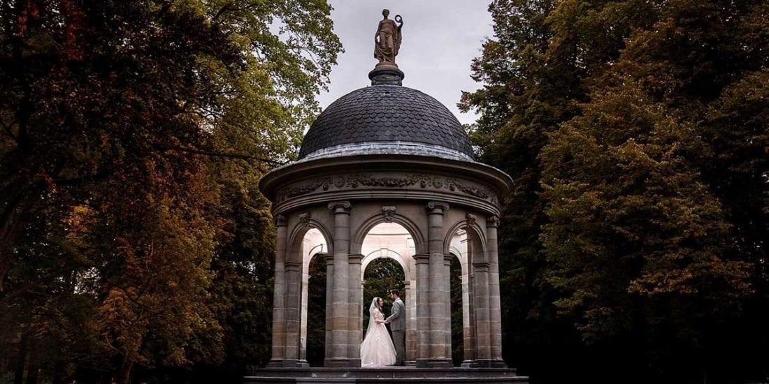 Bruidspaar fotoshoot in de herfst