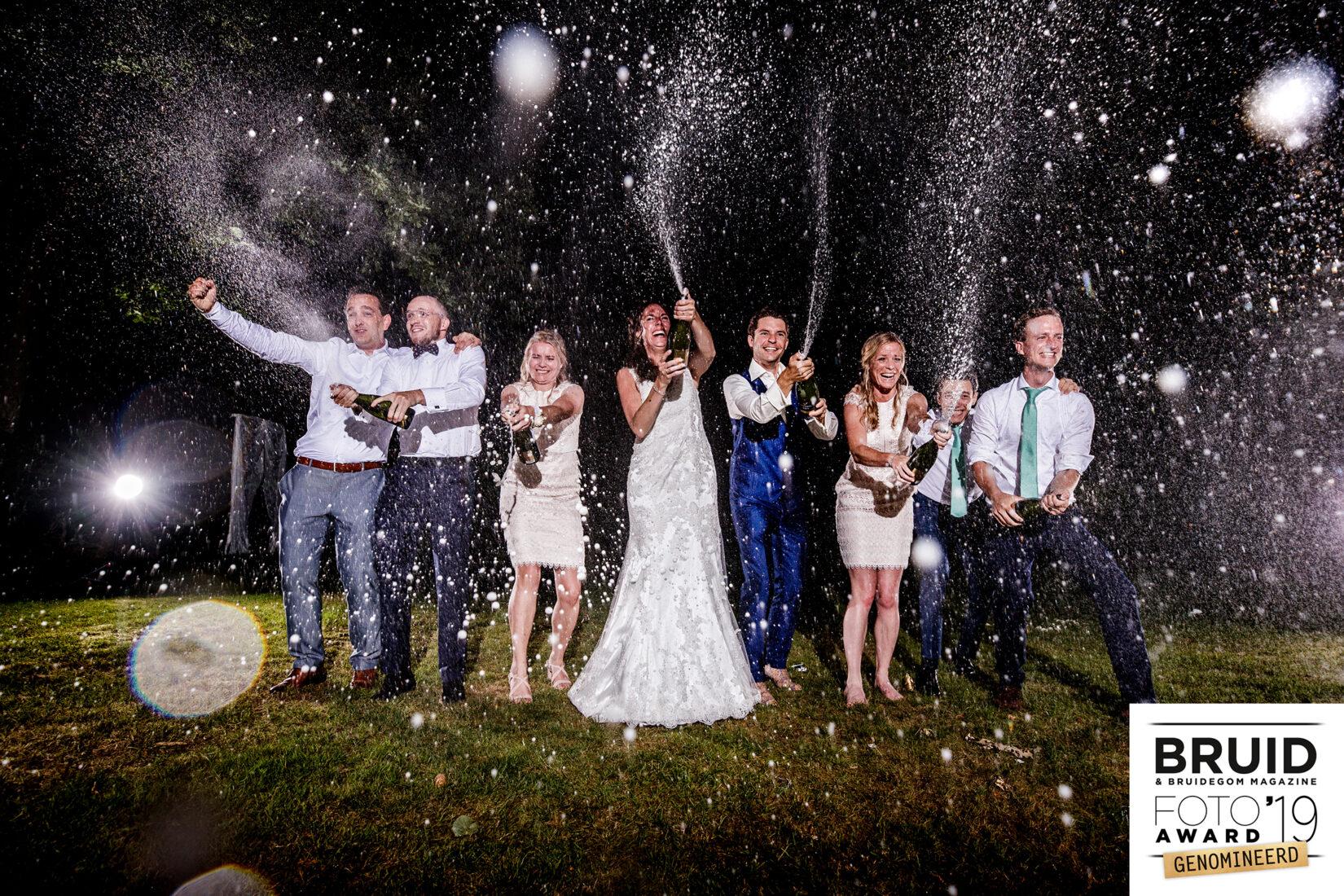 Champagnefoto op bruiloft